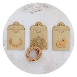 gift tags /ANTLERS heart FOX/ gold